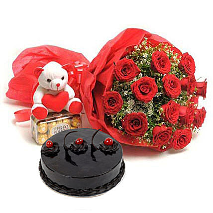 Sweet Love - Bunch of 15 Red Roses With Soft toy, 1kg Truffle Cake & Ferrero Rocher chocolate box.