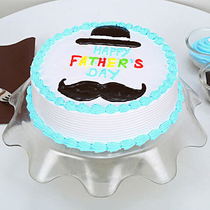 Hat And Moustache Fathers Day Butterscotch Cake 3kg Eggless