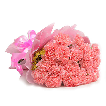 15 Pink Carnations - Bunch of 15 Pink Carnations in pink paper packing.:Gifts for Sagittarians