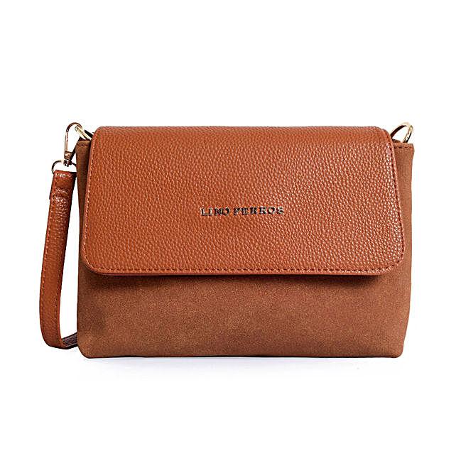 Lino Perros Leatherette Sling Bag- Tan