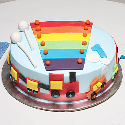 Cool Train First Birthday Chocolate Cake 3 Kg Eggless