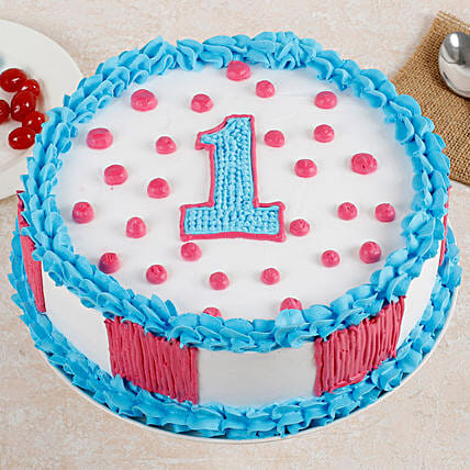 Adorable 1st Bday Strawberry Cake 1 Kg Eggless