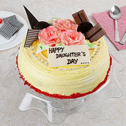 Daughters Day Strawberry Cake Half Kg