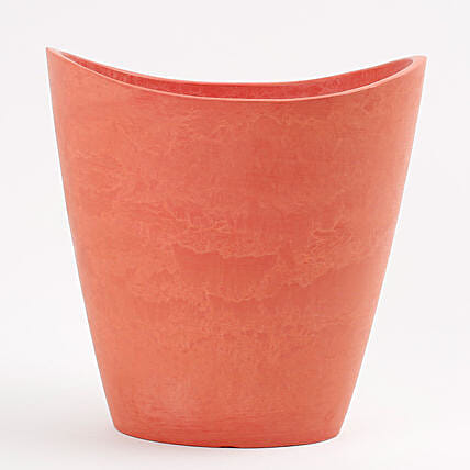 Recycled Plastic Half Moon Vase Red
