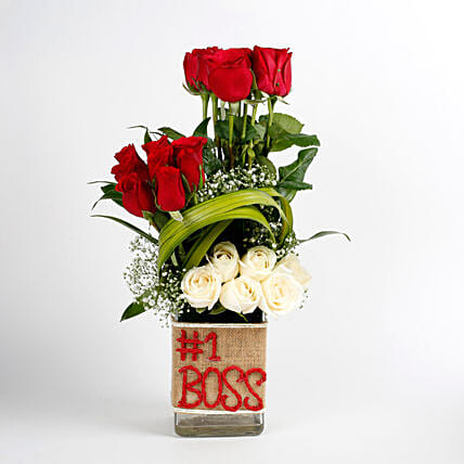 White & Red Roses Glass Vase Arrangement No 1 Boss