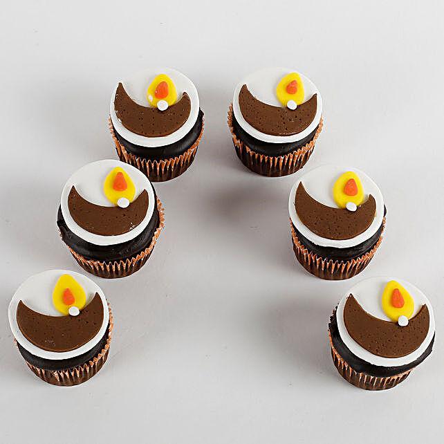 Decorative Diya Chocolate Cup Cakes 6 Pcs