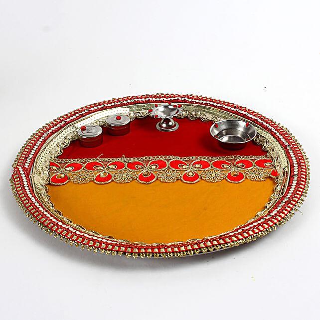 Decorated Red & Yellow Steel Pooja Thali