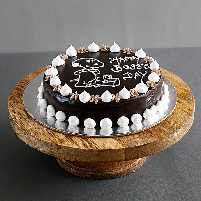 Happy Boss Day Chocolate Cream Cake Half kg Eggless