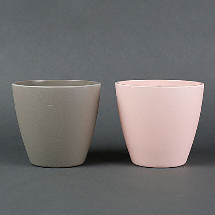 Combo of 2 Recycled Plastic Conical Vases Peach & Grey