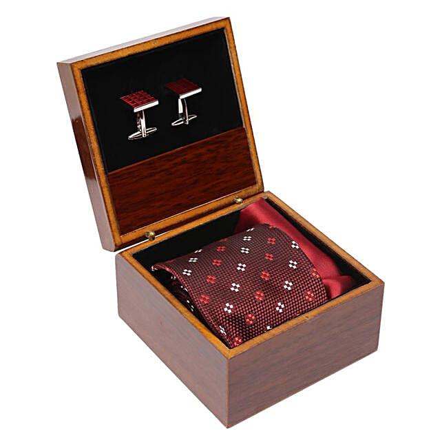 Alvaro Castagnino Maroon Necktie Cufflinks & Square Pocket Gift Set for Men