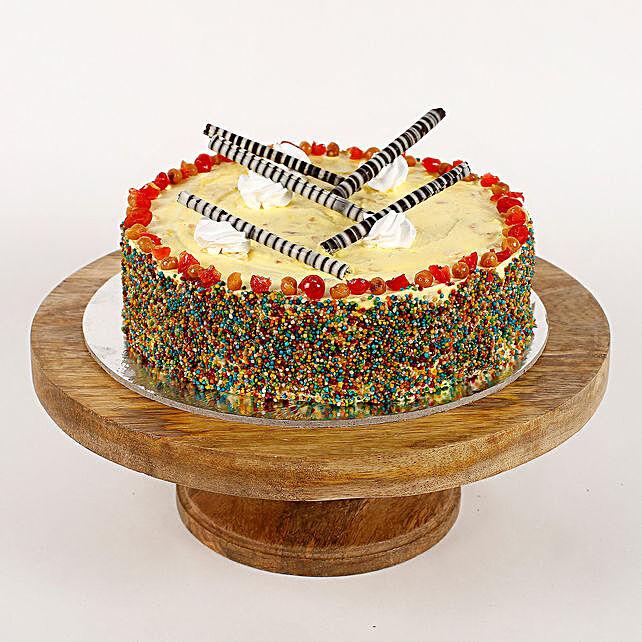 Colored Vermicelli Vanilla Cream Cake- Half Kg Eggless