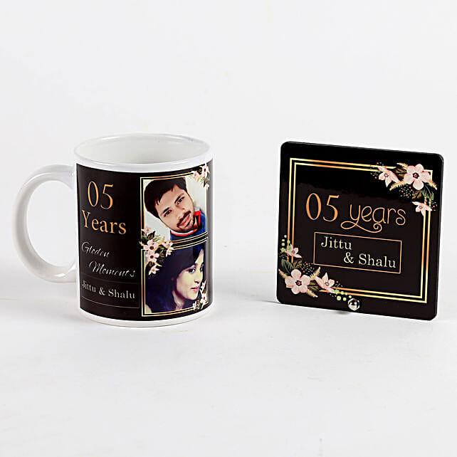 printed mug and table top for anniversary
