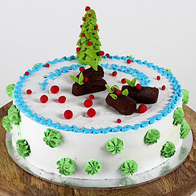 Christmas Tree Theme Vanilla Cake- Half Kg Eggless