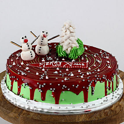 Christmas Snowman Pineapple Cake- 2 Kg Eggless