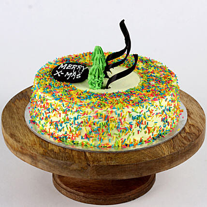 Colourful Christmas Butterscotch Cake- 2 Kg Eggless