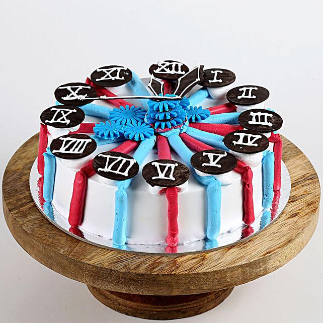 Red & Blue Clock Vanilla Cake- 1 Kg Eggless