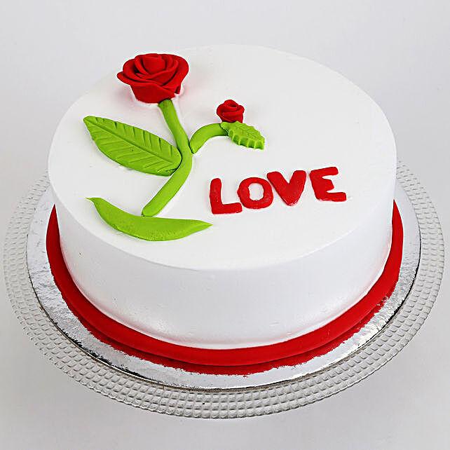 Red Rose Love Pineapple Cake Half Kg Eggless