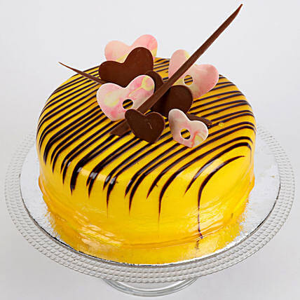 Striped Hearts Butterscotch Cake Half Kg Eggless