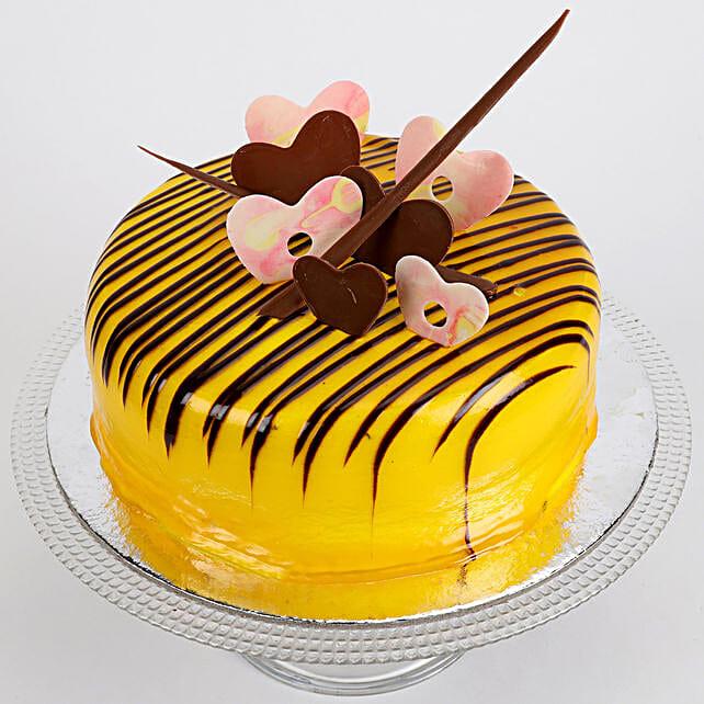 Striped Hearts Butterscotch Cake 1.5 Kg
