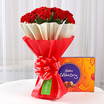 floral bouquet with sweet celebration box
