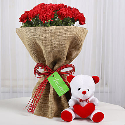 Send Carnation Bouquet with Teddy Online