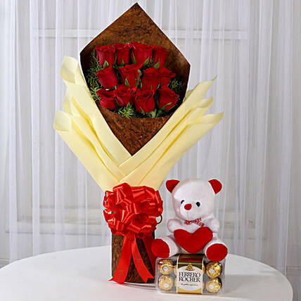 Combo Roses with Teddy and Ferrero Rocher