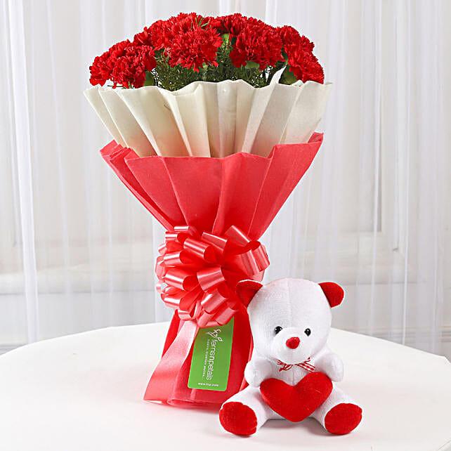 Fresh Carnations and Teddy Bear Online