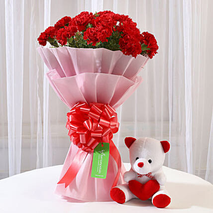 Buy  Carnation And Teddy  Online