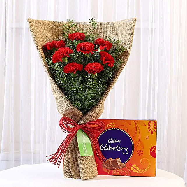 8 Red Carnations & Celebrations Box