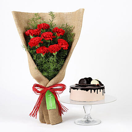 8 Red Carnations & Chocolate Cake
