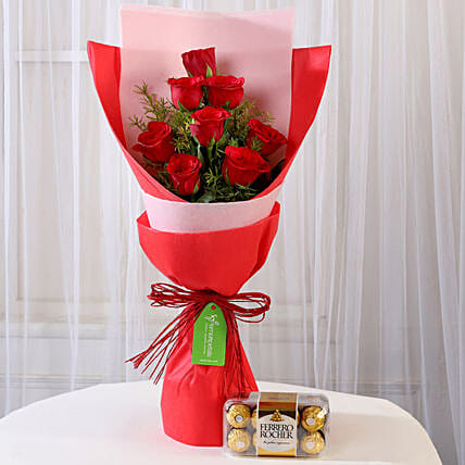 Red Roses Bouquet With Ferrero Rocher Online