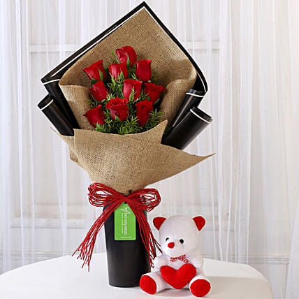Bunch Of Red Roses With Teddy Online