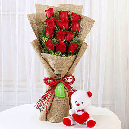 Multi Layered Red Rose With Teddy Bear Online