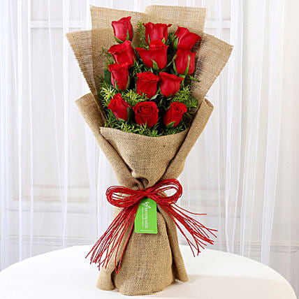 12 Layered Red Roses in Jute Wrapping