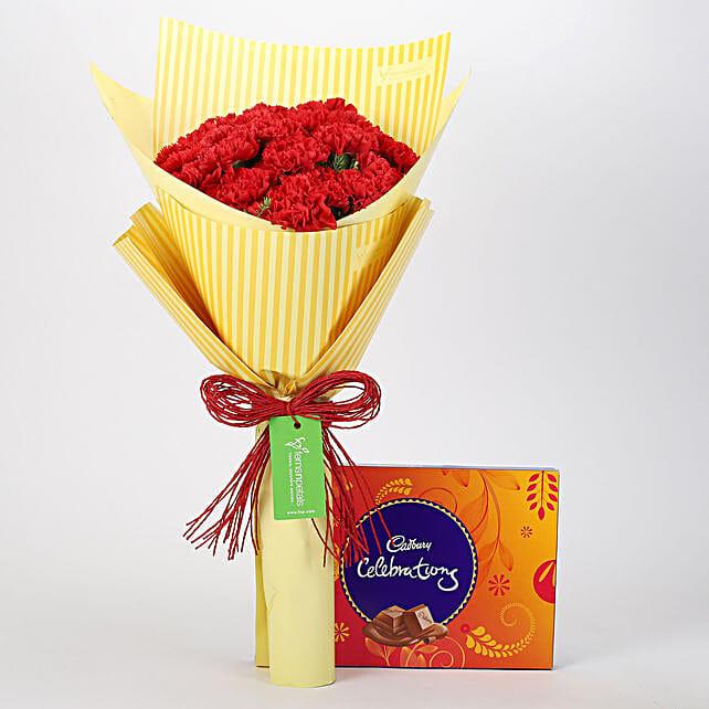20 Carnations Bouquet & Celebrations Box