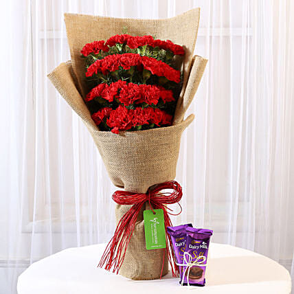 20 Red Carnations & Dairy Milk Silk Combo