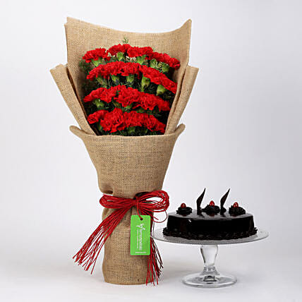 20 Red Carnations & Truffle Cake