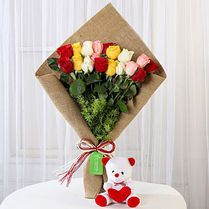 Mixed Roses Bouquet with Teddy Online