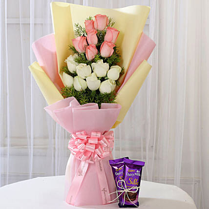 Pink & White Roses with Dairy Milk Silk