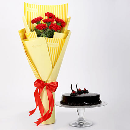 6 Red Carnations & Truffle Cake
