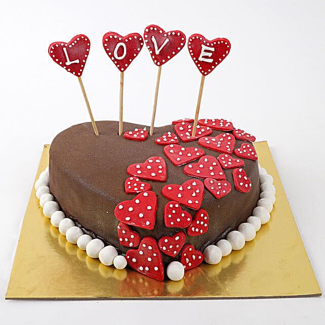 Valentine Red Hearts Chocolate Cake 2 Kg