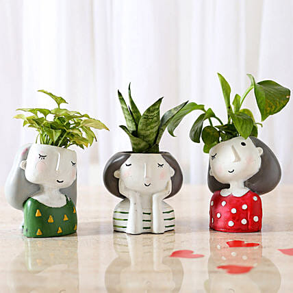 2 set of plant in attractive girl shape pots