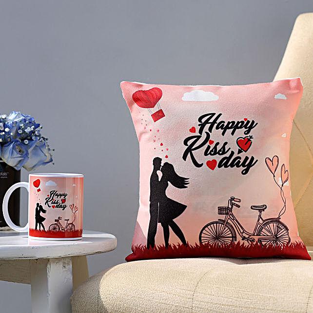 Happy Kiss Day Mug & Cushion Combo