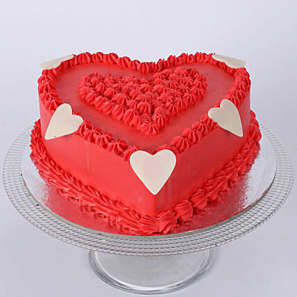 Floral Red Heart Cake 1kg Vanilla