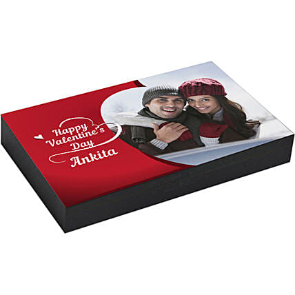 Personalised Red Box of Heart Shaped Chocolates 18 Pcs