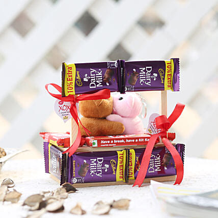 Wooden Kissing Booth With Dairy Milk Chocolates:Valentines Day Soft toys