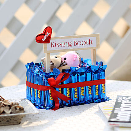 Wooden Kissing Booth With Perk Chocolates