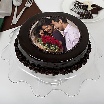 Chocolate Fantasy Photo Cake 1kg Eggless