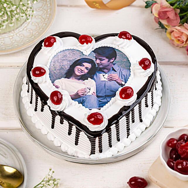 Heart Shaped Personalised Photo Cake