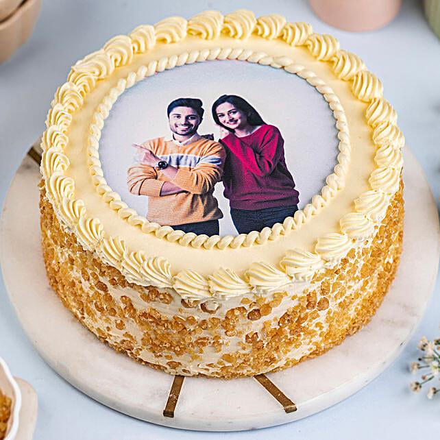 Personalised Round Shape Butterscotch Cake